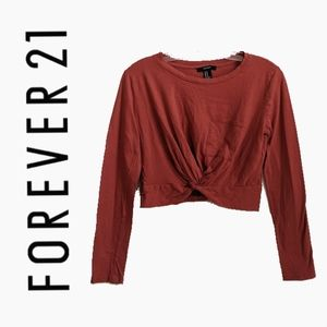 FOREVER 21 | SALMON PINK LONG SLEEVE CROP TOP